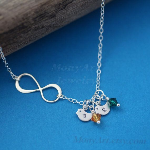 Infinity necklace Personalized Initial Birthstone by MonyArt, $36.80