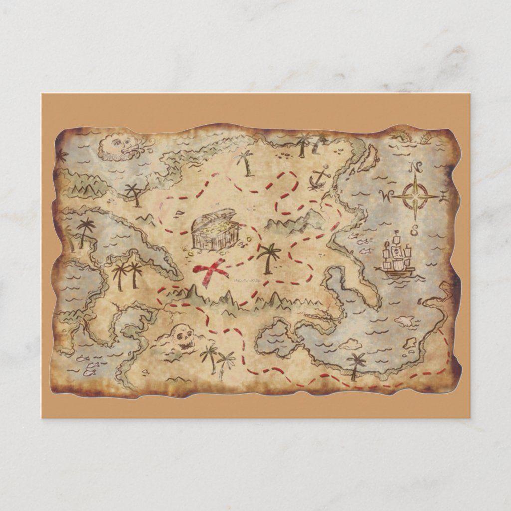 Treasure Map Postcard Zazzle Com In 2021 Pirate Treasure Maps Pirate Maps Treasure Maps