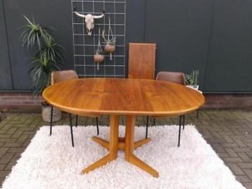 Deense Vintage Salontafel.Uitschuifbare Vintage Eettafel Deens Design Retro Tafel Rond