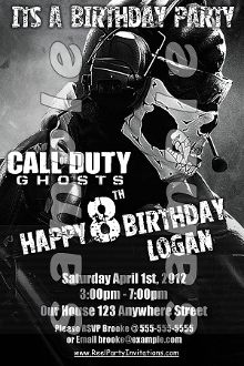 Call of duty ghosts 4x6 invitations with envelopes call of duty call of duty ghosts 4x6 invitations with envelopes filmwisefo