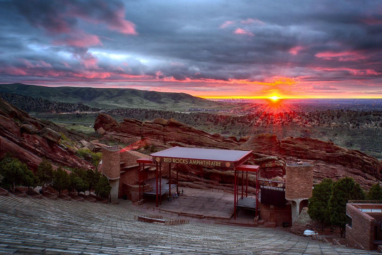 Red Rocks Sunrise Colorado Josh Photography Red Rock Amphitheatre Travel Usa Red Rock