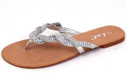 fb6d8a1f9dc Dressy silver flip flops