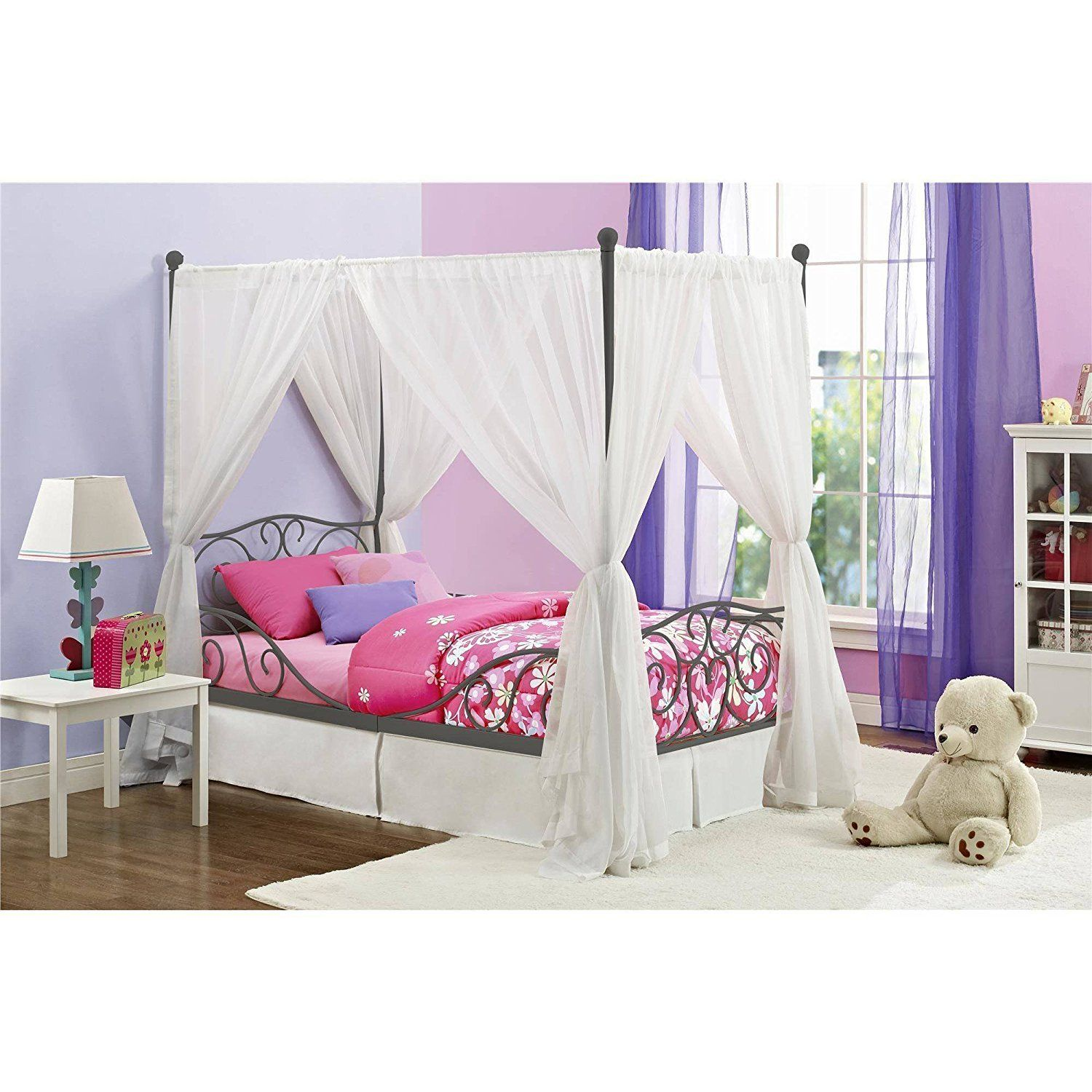 Girl\'s Grey Metal Canopy Bed Twin Sized Princess Gray | Creative ...