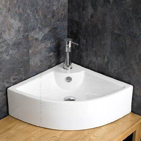 Prato Counter Mounted Ceramic Corner Wash Basin Sink Amazoncouk