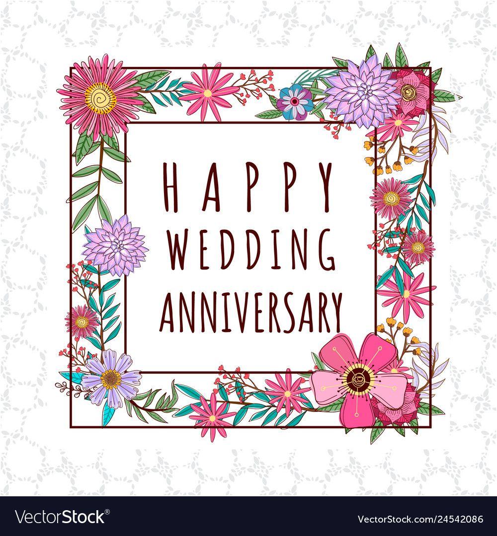 Wedding anniversary design vector image on in 2020