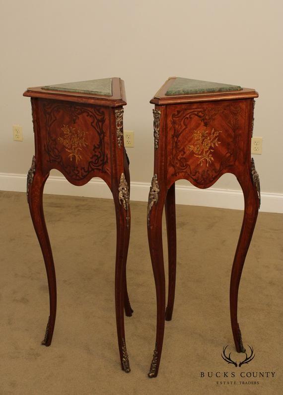 Französisch Louis XV Style Paar Marmor Top Sockel, Pflanzenständer