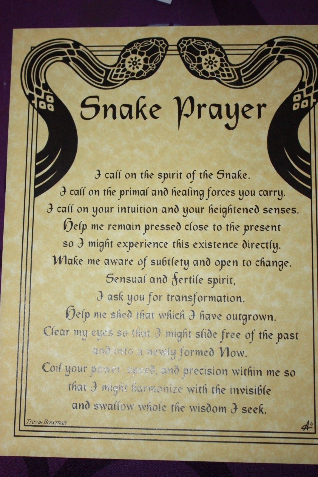 SNAKE PRAYER PARCHMENT POSTER Wicca, HOO DOO, pagan picclick