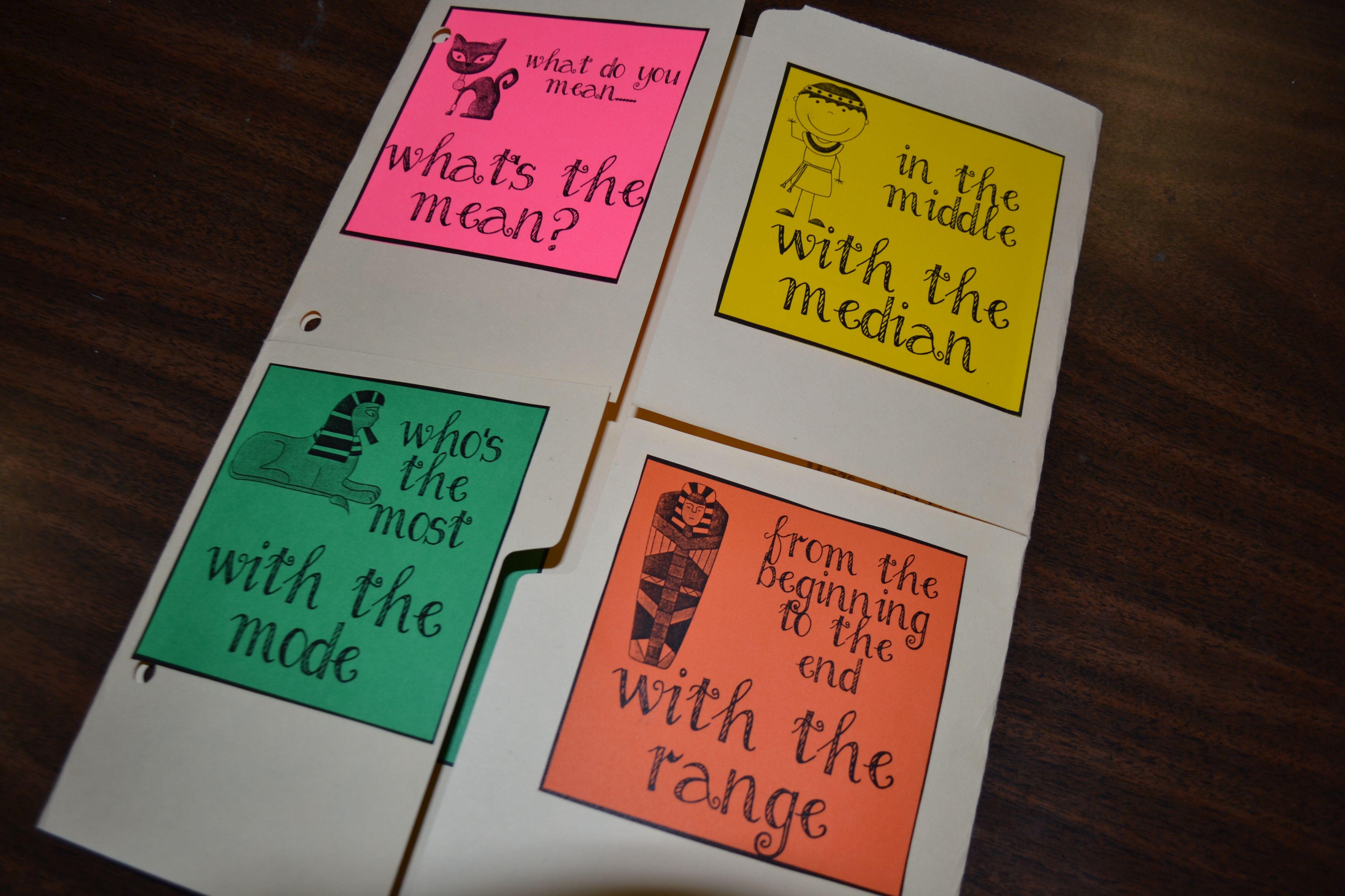 Mean Median Mode Range Lap Books