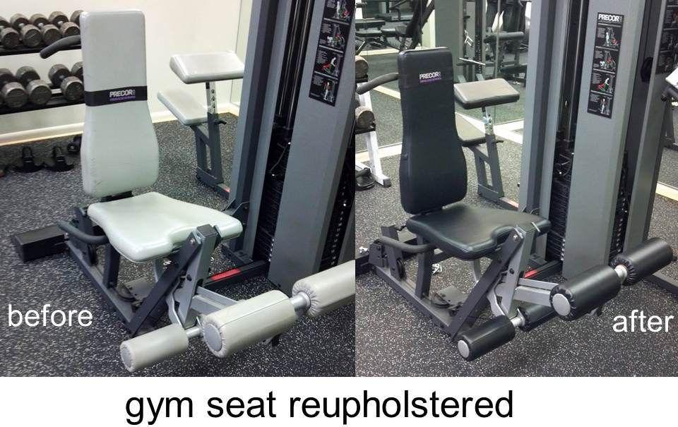 Vinyl Upholstery on gym equipment. Vinyl Pro Company does