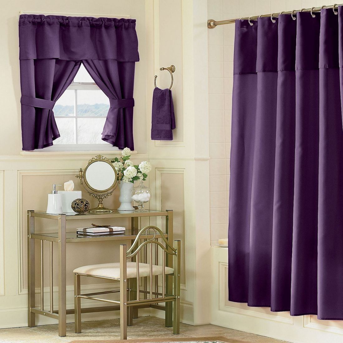 Lavender Bathroom Window Curtains