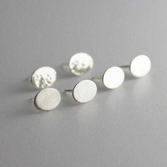 6x8mm Oval Minimalist Earrings Silver Disc Studs Post