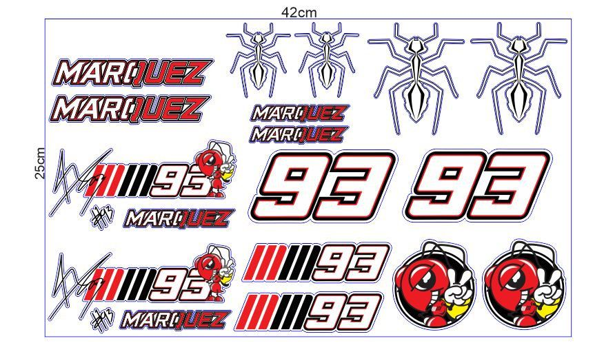 1 Set Marc Marquez Sticker Aufkleber Autocollants Pegatinas Digital Print The Doctor Bike Yamaha Racing Moto