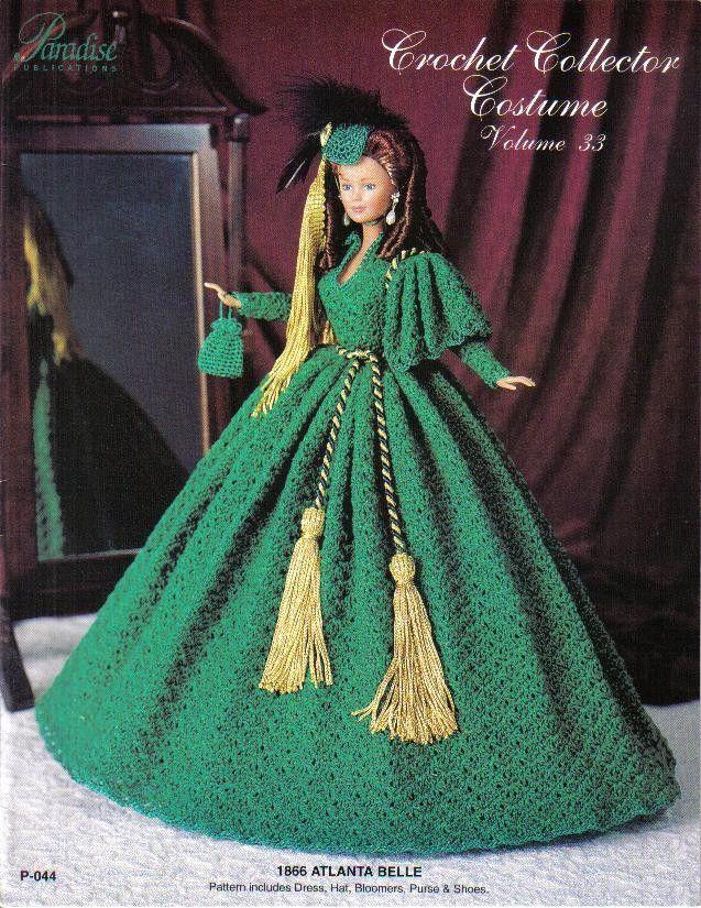 Crochet Costume Pattern Civil War Southern Belle Fits 11 1/2 Fashion ...