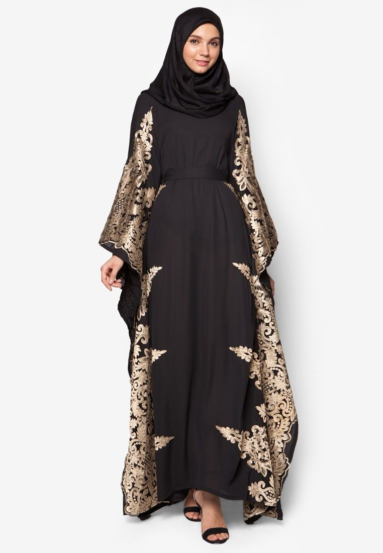 Lace Piece Kaftan from Zalia in black and gold 4  761d5d132f