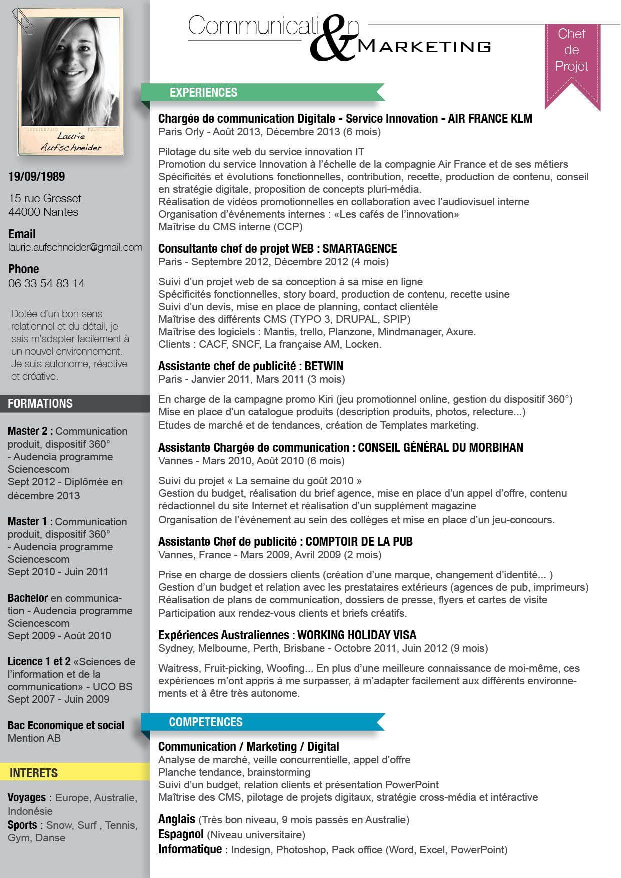 Épinglé par julie sur Crea Marketing communications, Cv