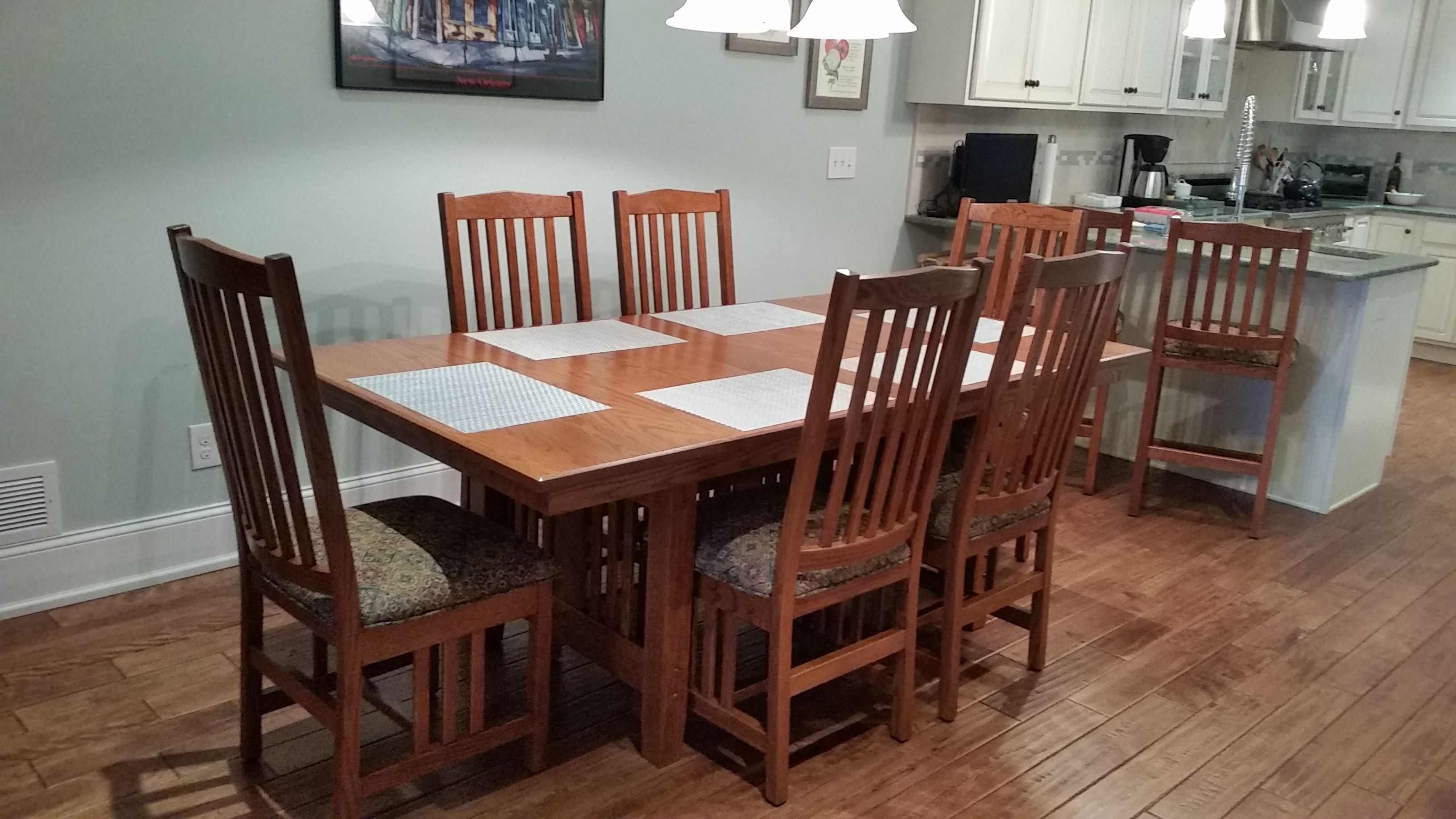 Mission Trestle Table And Chairs Amish Furniture Furniture Furniture Store