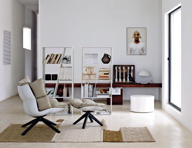 designer sessel husk mit hocker wohnzimmer weiß beige - wohnzimmer beige wei