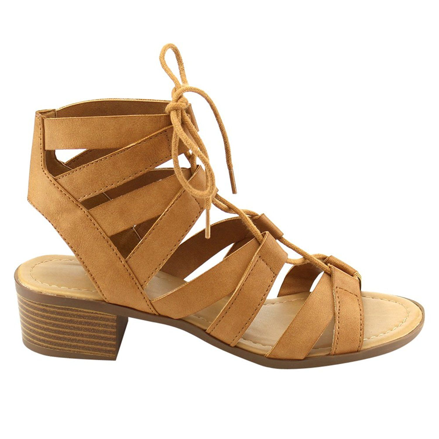 Lace Up Mid Low Stacked Block Wood Heel Open Toe Ankle Strap