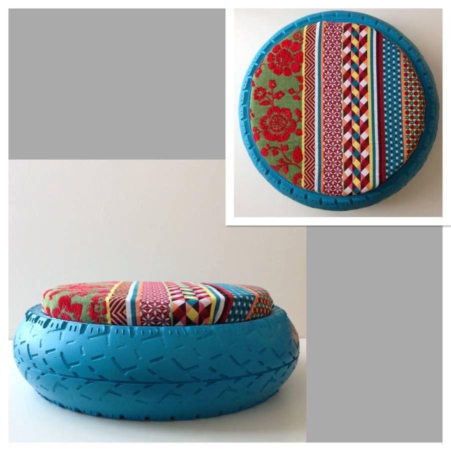 cr ation de pouf avec des pneus par un jeune tunisien recyclage objets pinterest pneu. Black Bedroom Furniture Sets. Home Design Ideas