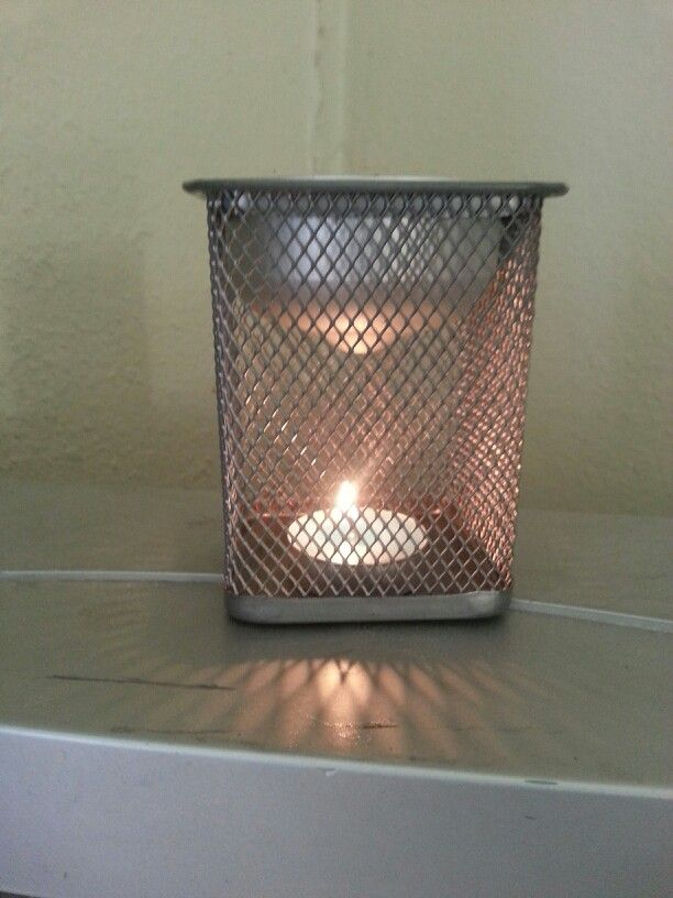 Diy Wax Warmer Fb Metal Caged Pencil Holder W Candle And