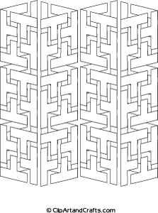 Tricky Adult Design To Color Geometric Interlocking Shapes 3D Towers Coloring Page Clipartandcrafts