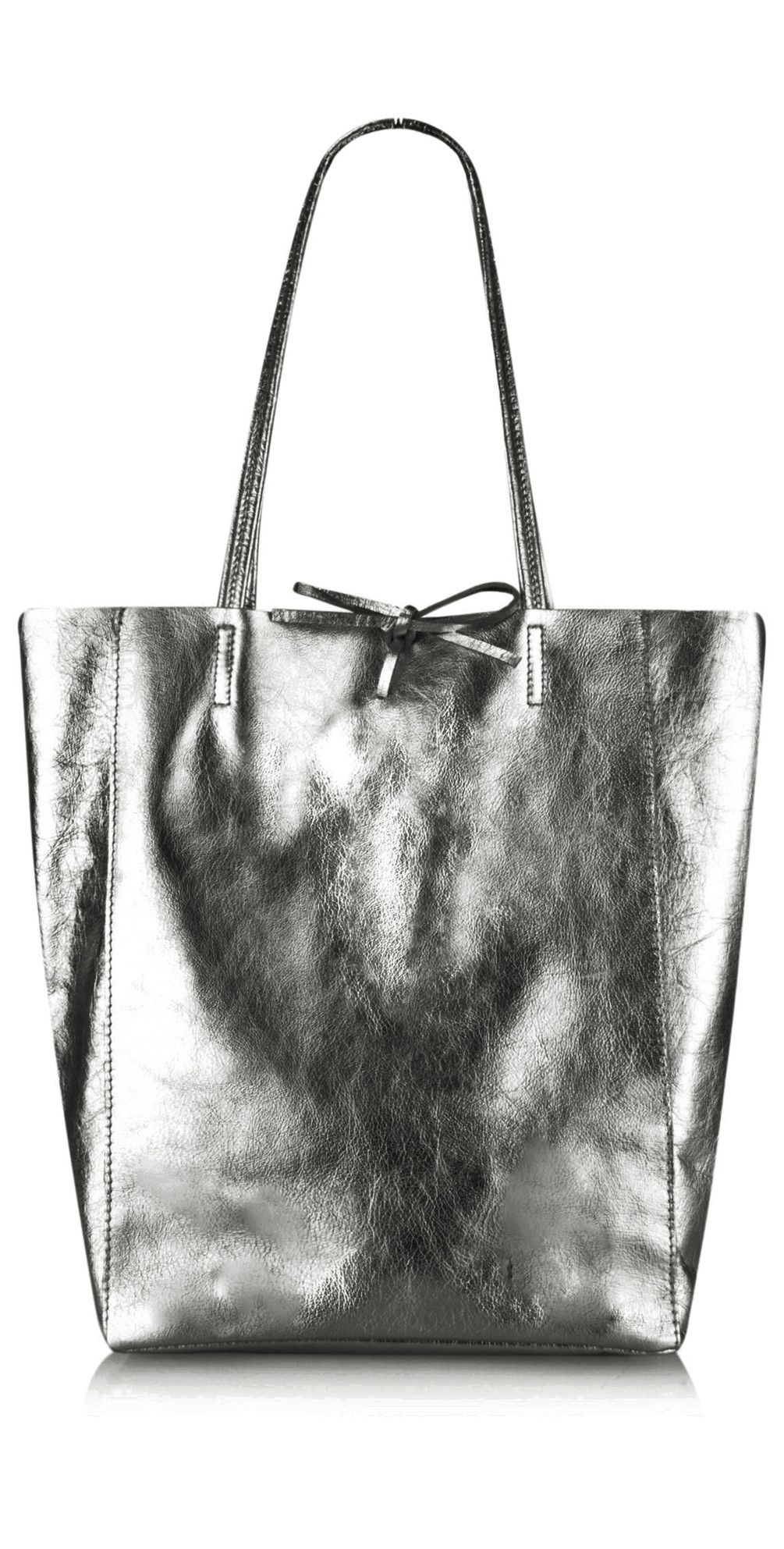 The Pure White Ribera Metallic Leather Tote Bag In Pewter Online At Gemini Woman