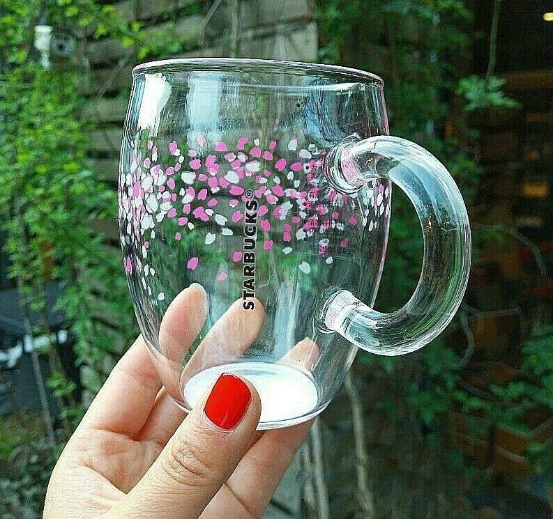 STARBUCKS China Cherry Blossom Colorchanging Glass Cup