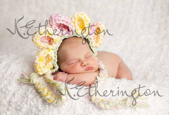 15 off see below Baby Flower Bonnet Hat Pink Yellow by mandag433, $20.00