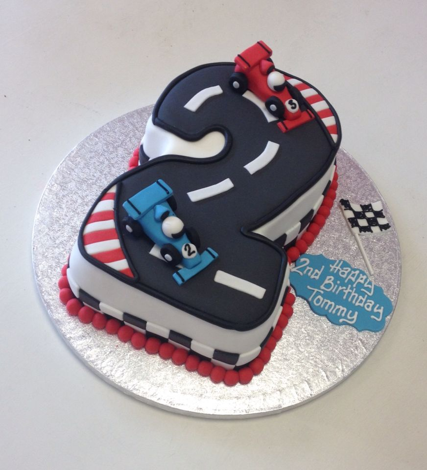 Number 2 shaped birthday cake, racing car theme | Masons ...