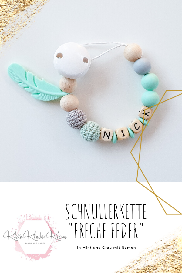 "Photo of Schnullerkette ""Freche Feder"" mit Namen in senfgelb und grau"