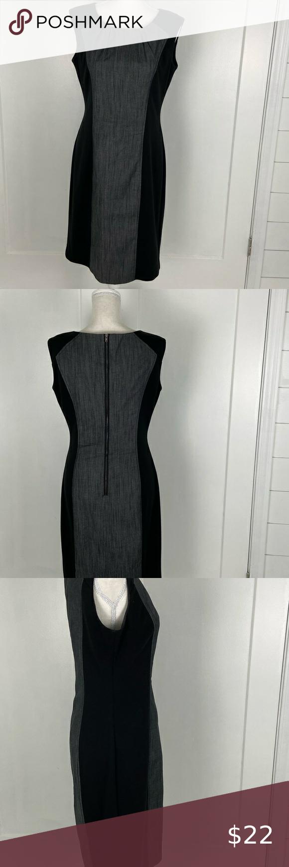 Calvin Klein tailliert schwarz mit grauem Kleid Größe 6 ...