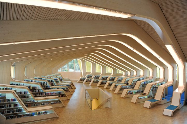 Modern Architecture Library norwegian library's modern ribbed interior design | modern library