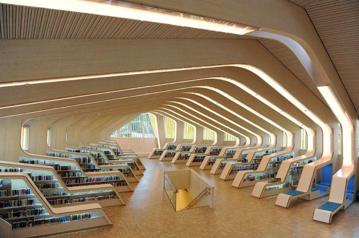 Norwegian Library's Modern Ribbed Interior Design