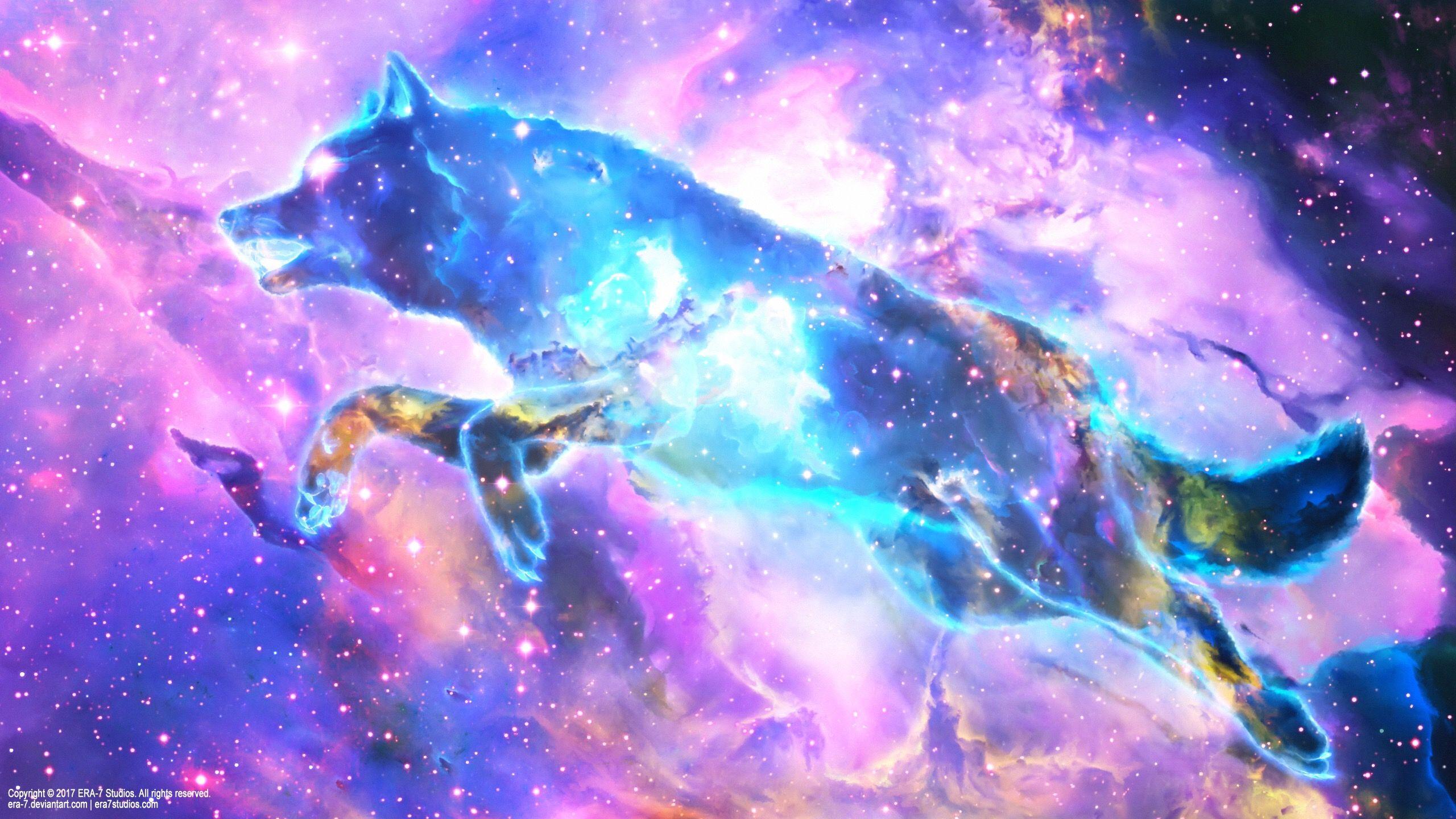 Pin By Iesha Reath On Fairytale Galaxy Wolf Wolf Spirit Wolf Canvas