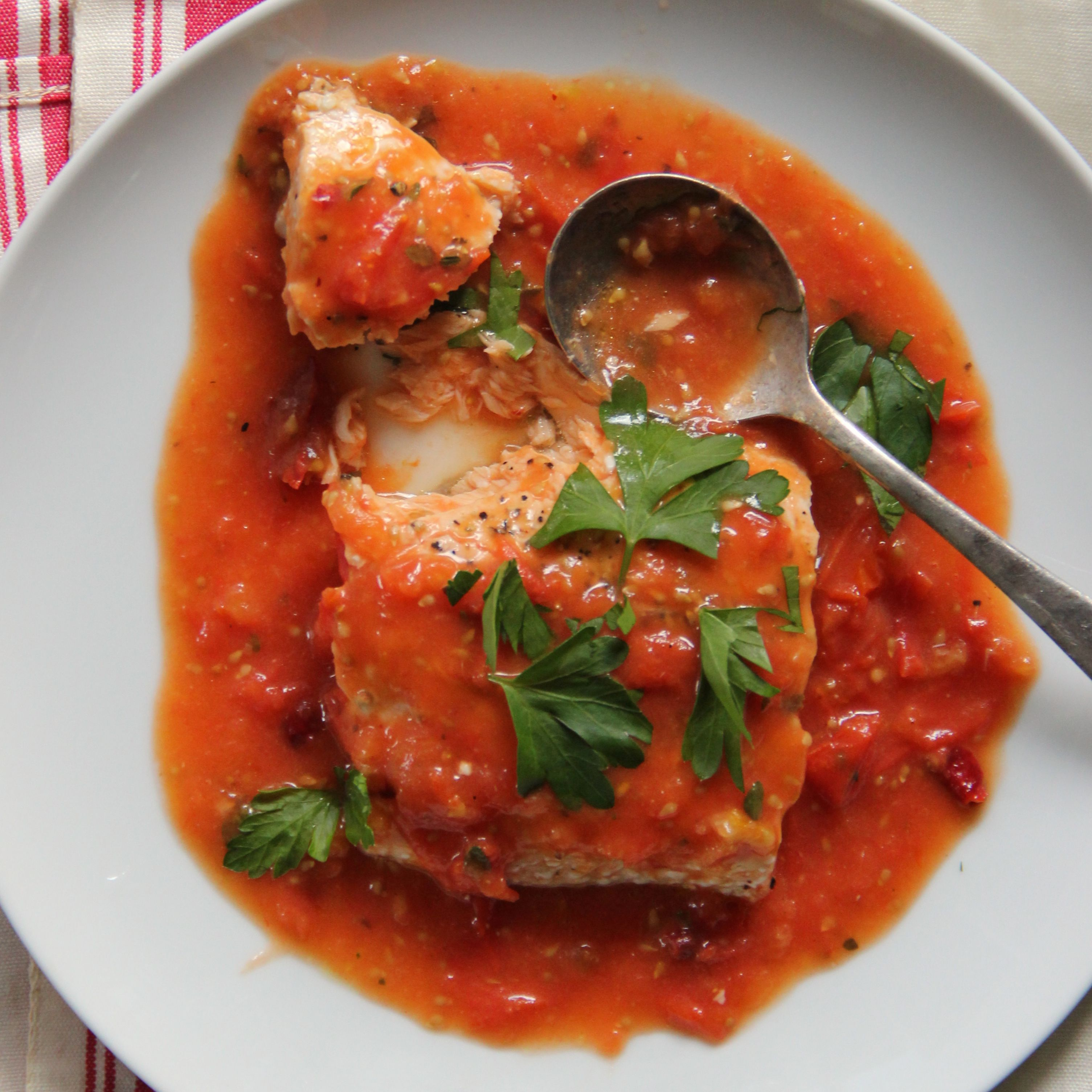 Slow Baked Salmon In Fresh Tomato Sauce Recipe Salmon Recipes Baked Salmon Recipes Baked Salmon
