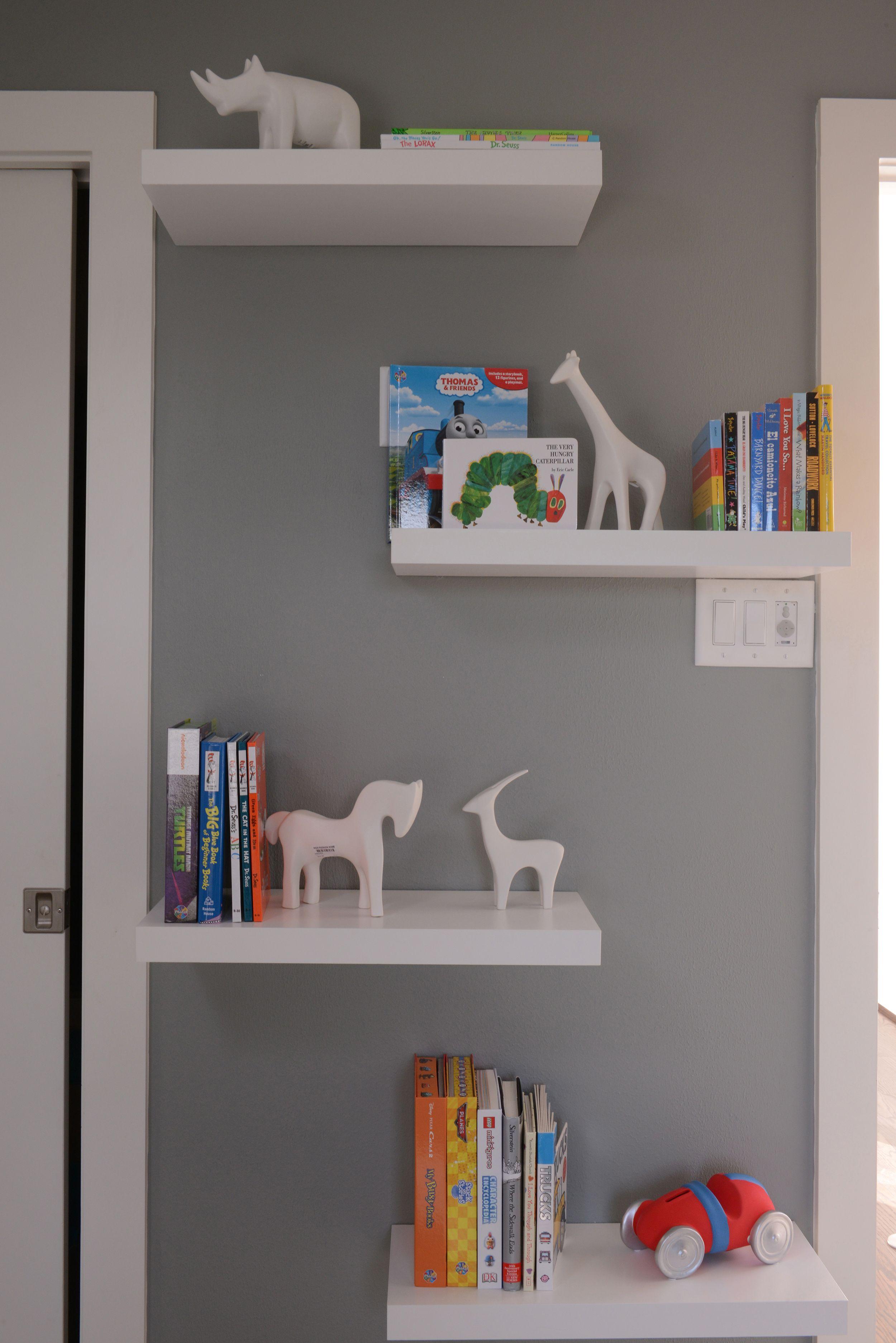 A Flood Of Fun Designed By Contour Interior Design Llc Floating Shelves Bedroom Floating Shelves White Floating Shelves