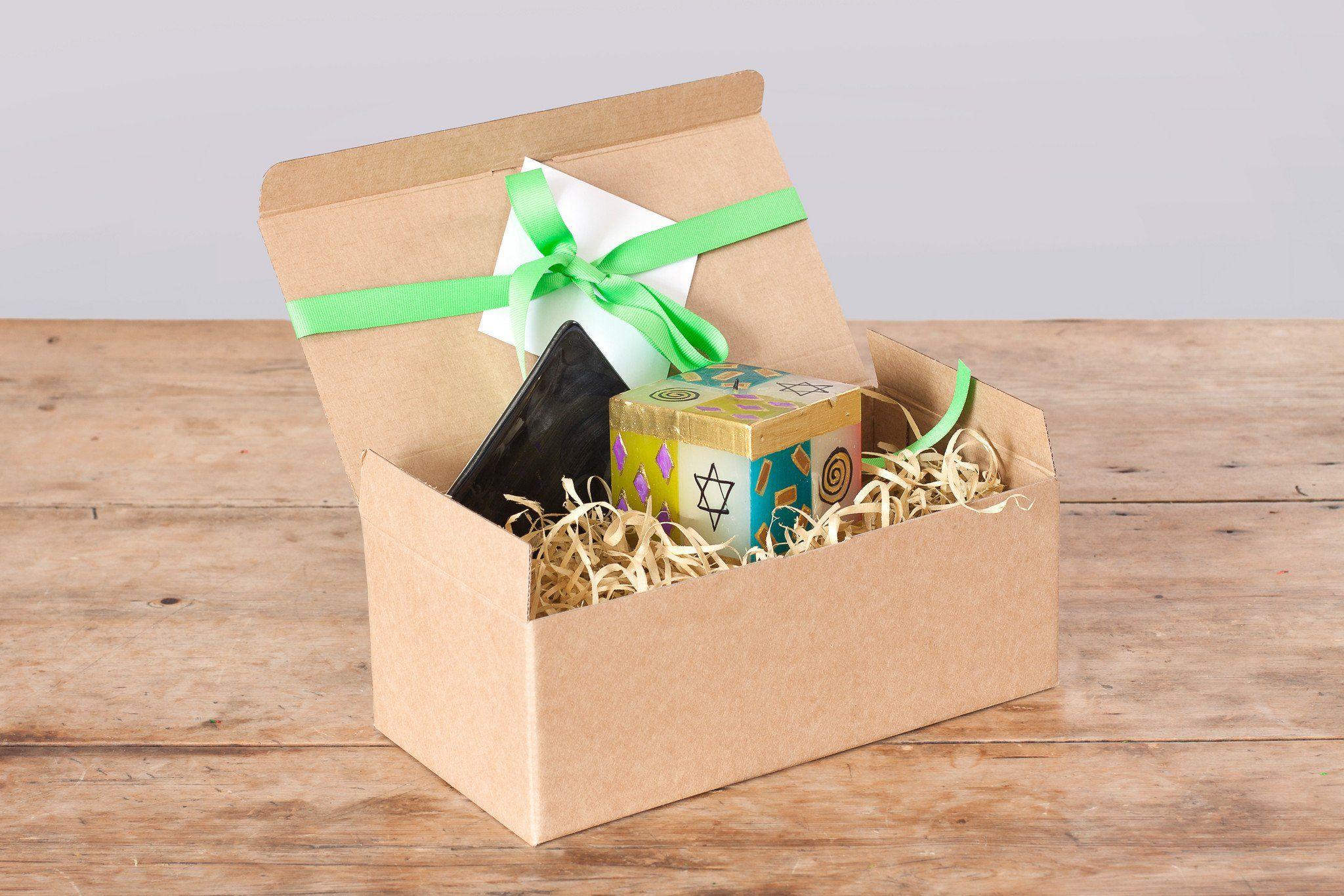 Gift box judaica cube candle coaster hanukkah gifts