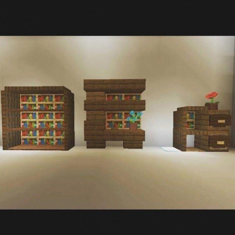 Quelques Belles Bibliotheque Des Idees De Minecraft En 2020 Meubles Minecraft Chambre Minecraft Ferme Minecraft