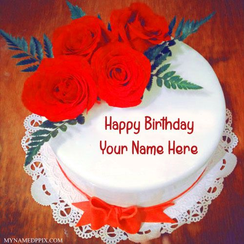 Red Rose Birthday Cake With Name Image