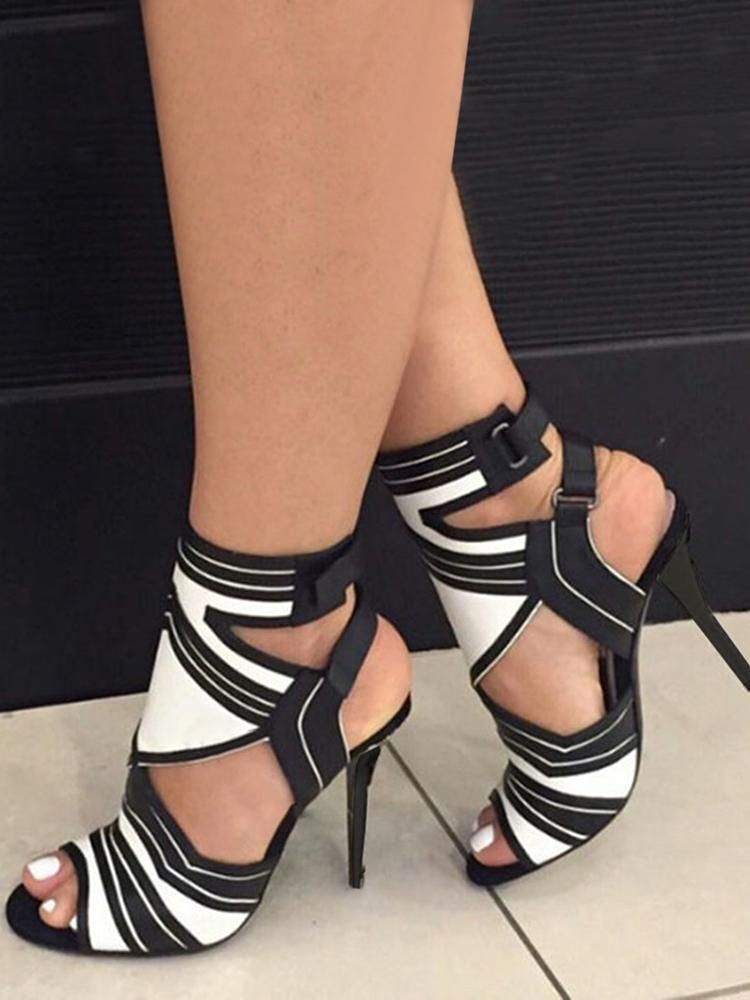 Stiletto Heel Contrasting Color Ankle Strap Sandals - BLACK