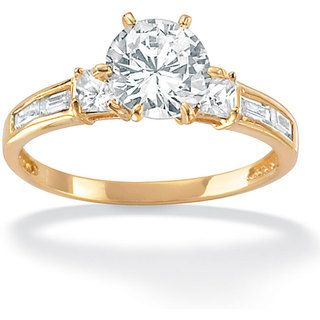 Ultimate Cz 10k Yellow Gold Clear Cubic Zirconia Ring Sterling Silver Engagement Rings Cz Rings Engagement Jewelry