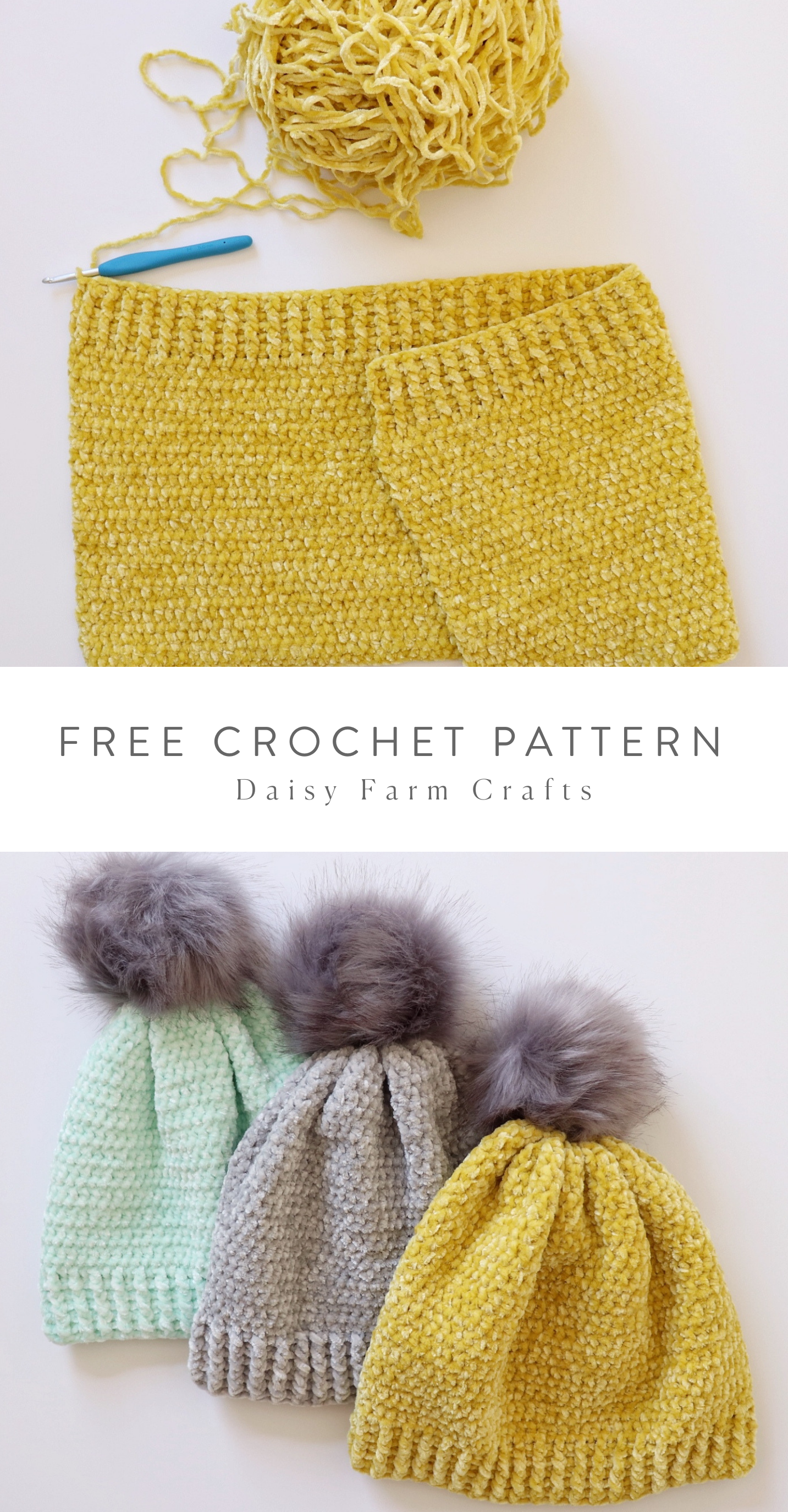 Free Crochet Pattern - Velvet Winter Hats