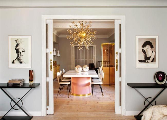 2 lámpara sputnik dorada comedor decoración elegante living pink ...