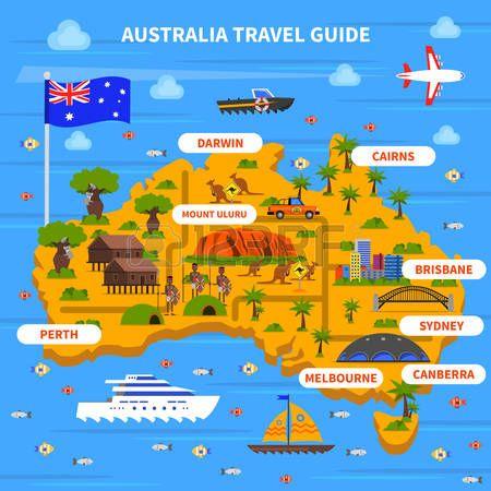 gua de viaje de australia con el mapa de la bandera del ocano y las vistas