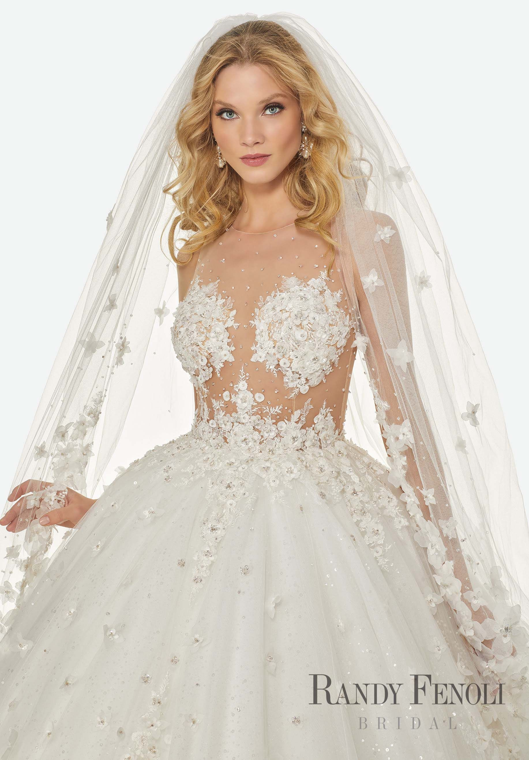 ba594bdcccafe Randy Fenoli Bridal, Brandi Wedding Dress | Style 3424. Diamante and  Crystal Beaded, Floral Appliqués and Embroidery on an Illusion Bodice with  Extra Full, ...