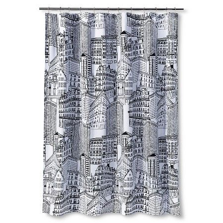 Room Essentials City Sketch Shower Curtain Ebony Opaque Black Curtains Curtains Room Essentials