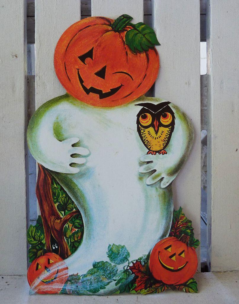 Vintage Halloween Decorations Pumpkin Ghost Die Cut