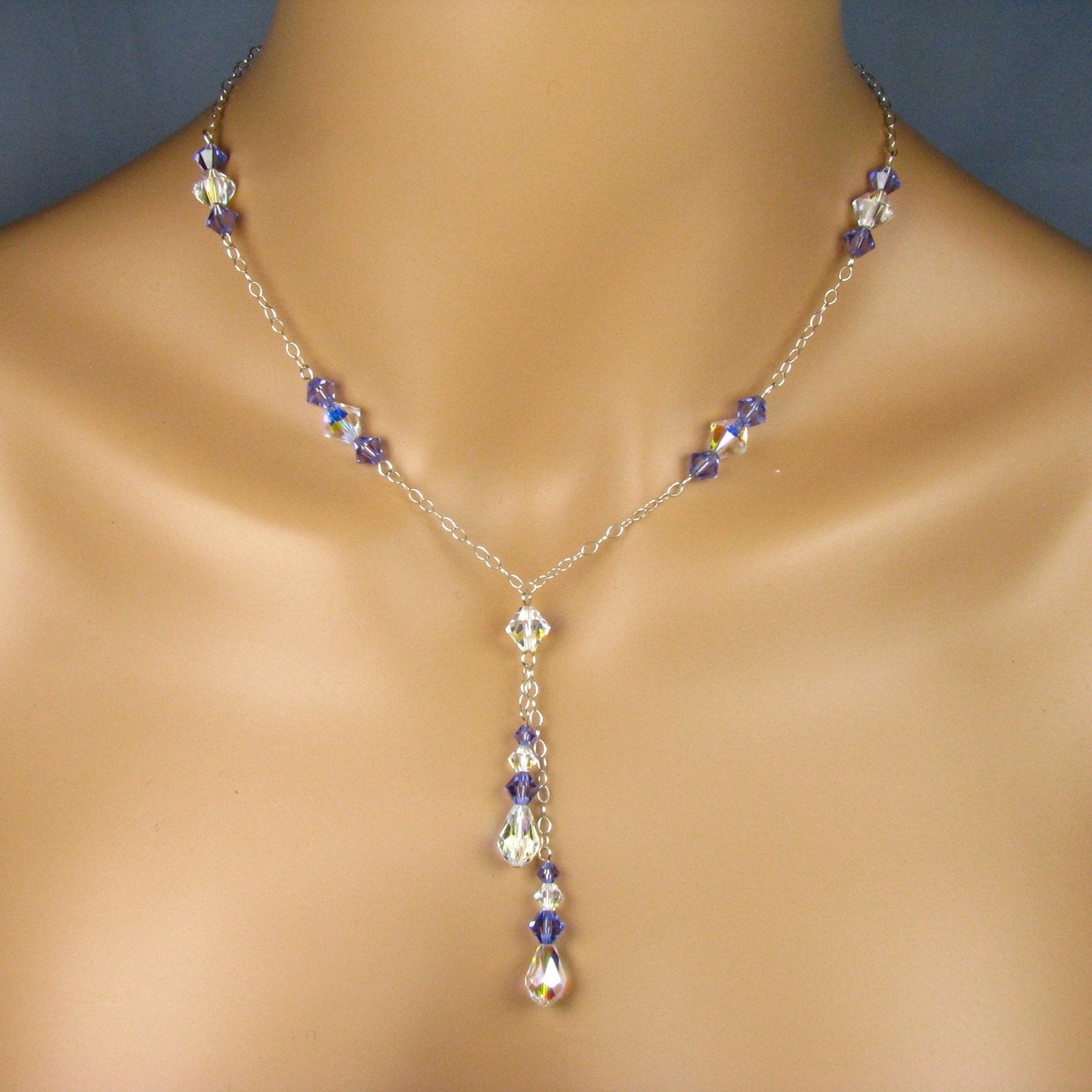 Bridesmaid Necklace Sterling Silver Chain Swarovski Crystals