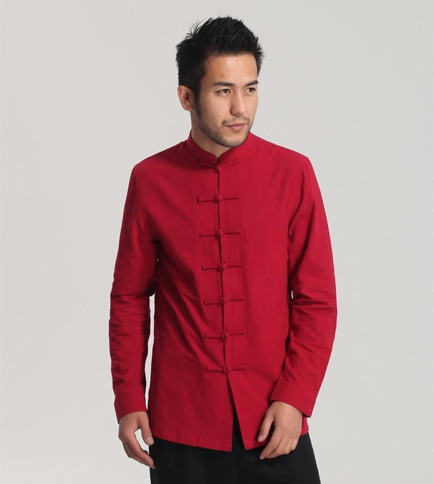 Men/'s Autumn Chinese Style Linen Cotton Shirts Long Sleeve Vintage Kung Fu Tops