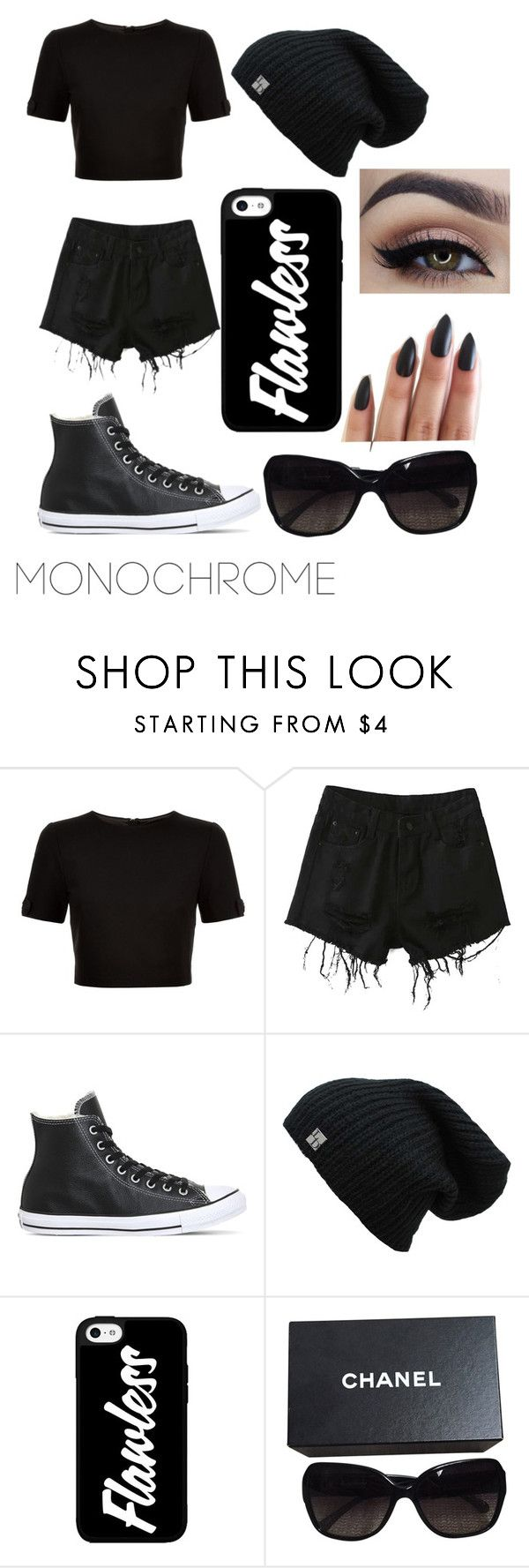 """""""Untitled #29"""" by crmoritz ❤ liked on Polyvore featuring Ted Baker, Chicnova Fashion, Converse, Chanel and monochrome"""